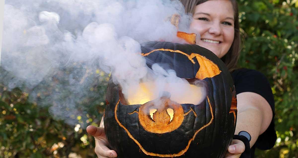 fall fireworks - pumpkin with smoke